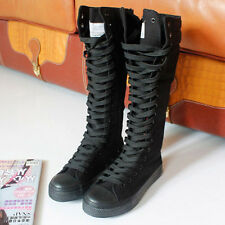 Great Sexy PUNK EMO Women Shoes Canvas Boots Zip Lace Up Knee High Sneaker Pumps