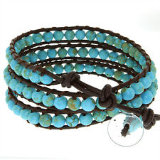"""24"""" Blue Beads on Brown Leather Wrap Bracelet with Snap Button Lock"""