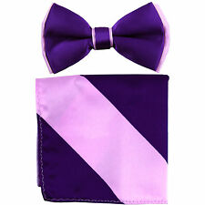 New Men's Two Layer Tones Pre-tied Bow Tie and Hankie Set Purple Lavender