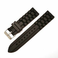 22mm Black Silicone Rubber Sports Diving Watch Strap Band For All Watches