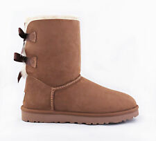 UGG Australia Bailey Bow Double Chestnut Brown Fur Boots Womens 6 *NEW*