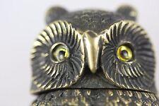 OWL BRASS MATCH VINTAGE VESTA CASE WITH GLASS EYES