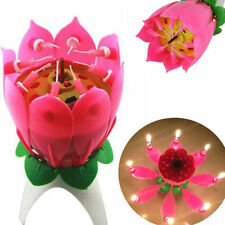 Happy Birthday Musical Magical Opening Lotus Flower Candle For Party