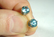LARGE (7mm) Blue Zircon 14k solid white Gold Stud Earrings - (4.3 Carats Total)