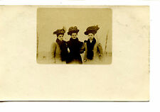 Lady Friends Outside-Fur Boa-Coats & Hats-RPPC-Vintage Real Photo Postcard