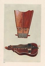 VINTAGE PRINT MUSICAL INSTRUMENTS BELL HARP AND HURDY GURDY