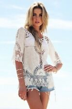 Ladies sexy lace silk/crochet lacy casual / beachwear white short sleeve top