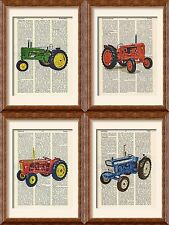 4 x Art Prints - Vintage Tractor Collection - Antique Book Page - Ford Nuffield