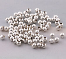 300 pcs 4mm Round silver plated spacer beads Jewelry making findings charms