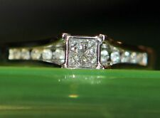 Beautiful 14K White GOLD Engagement RING Princess Cut DIAMOND size 7.75