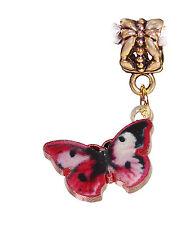 Pink Red Black Butterfly Enamel Gold Dangle Charm for European Bead Bracelets