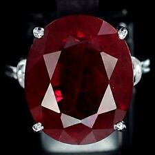 BEAUTIFUL 18.25 CT BLOOD RED RUBY OVAL STERLING SILVER 925 RING SIZE 6.75