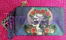 TOO FAST CARRIE CLUTCH TRINITY Skull Roses Makeup Cosmetic Bag Purse Handbag NWT
