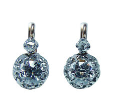 Antique Old Miner Mine cut Diamond Earrings 18K Gold French Backs Estate
