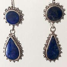 Lapis Earrings Sterling Silver Vintage Tear Drop Dangle Blue Boho Hippie Ethnic