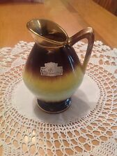 Bay Keramik Fat Lava Pitcher Vase West Germany Pottery Brown Yellow Green