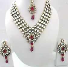 Indian Bollywood Traditional Red Kundan Pearls Wedding Fashion Jewellery Set