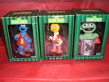 COOKIE MONSTER & BIG BIRD SLED & OSCAR SESAME ST BOXED ORNAMENTS LOT OF 3