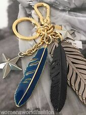 NWT Coach Grey Birch Gold Multi Feathers Stars Charm Keychain Key Fob 63613 $95