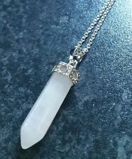 Bullet Rose Quartz Gemstone Point Pendant Necklaces, Stainless Steel Chains.