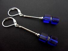 A PAIR OF LOVELY  SILVER PLATED BLUE CUBE BEAD LEVERBACK HOOK EARRINGS. NEW.