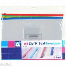 12 A4 Clear Zip Document Storage Wallets Folders Holders Envelopes Bags