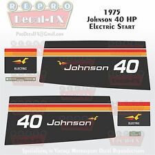 1975 Johnson 40HP Electric Start Outboard Reproduction 6 Pc Vinyl Decals