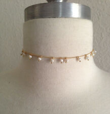 gold chain tiny pearl drop choker necklace bridesmaid necklace wedding jewelry