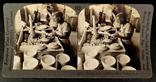SHAPING PLATES ON THE POTTERS WHEEL TRENTON NEW JERSEY Stereoview Photograph