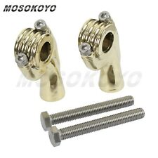 "2X 1"" 25mm Solid Brass Handlebar Riser Mount Clamp Fit Motorcycle Old School Hot"