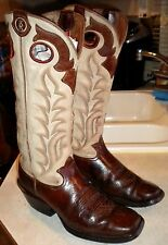 MENS 8.5 D TONY LAMA 3R # RR1000 Brown Buckaroo Square Toe WESTERN BOOTS $197