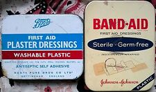 2 Vintage Tins 1970s 1980s Advertising Boots Band Aid Plasters Pharmacy FirstAid