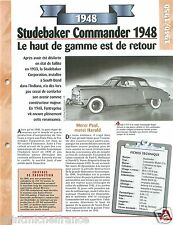 Studebaker Commander Model 15 A  6 Cyl. 1948 USA Car Auto Retro FICHE FRANCE