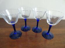 Vintage Cobalt Blue Elegant Clear Crystal  Ribbed Wine Glasses  Stems -Lot 4