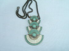 VINTAGE LIA SOPHIA EGYPTIAN REVIVAL TURQUOISE AND ENAMEL PENDANT NECKLACE