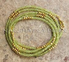 Peridot & Golden Pyrite 3-4mm Roundel Faceted Beaded 40inch Gold Plated Necklace