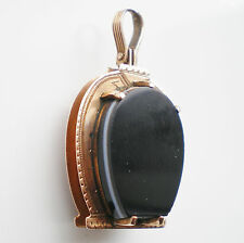 Victorian Scottish 9ct Rose Gold Banded Agate & Carnelian Horseshoe Locket c1875