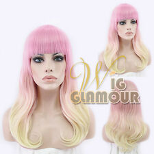 """Long Curly 22"""" Pink Mixed Blonde Fashion Synthetic Hair Wig with Bangs"""