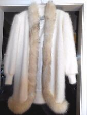 CACHE White Fox Fur Sweater Jacket Coat Angora   L to XL Think White Wedding