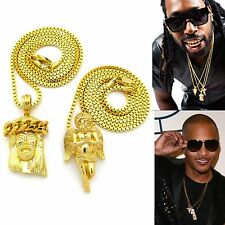 "MENS HIP HOP GOLD MICRO JESUS AND ANGEL PENDANT 24"" & 30"" BOX CHAIN NECKLACE SET"