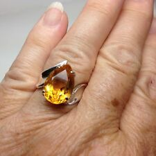 Sterling silver pear Citrine swirled bypass ring size 8