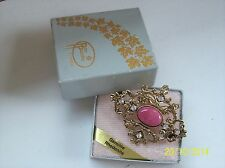 Vintage Style ~ Canadian Rhodonite Gold Tone Gem Stone Brooch (new & boxed)