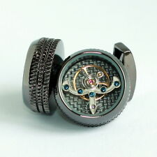 Black Tourbillon Steampunk Watch Mechanism Cufflinks with Ridged Edge