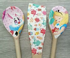 Alice in Wonderland Design Spoon and Spatula Set, Shabby Chic Handmade