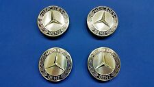 Set 4 Mercedes Benz Dark Blue Center Wheel Hub Caps Chrome Star Emblem Rims Logo