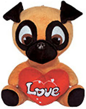 "11"" Pug Puppy Dog LOVE Stuffed Animal Plush Black Tan - Peluche Valentine NEW"