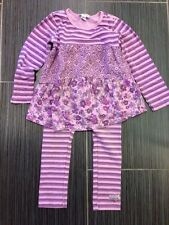 Naartjie Girls Purple Floral & Stripe Tunic (sz 5), Leggings (sz 4) & Headband