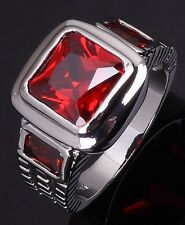 Percious Size 8 Band Garnet Solitaire 18K Gold Filled Men's Fashion Rings Gift