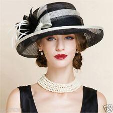 New Women's Kentucky Derby Church Wedding Noble Banquet linen hat feather hat