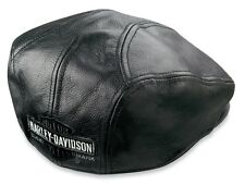 Harley Davidson Men's Nostalgic Trademark Long B&S Black Leather Ivy Cap (L) HAT